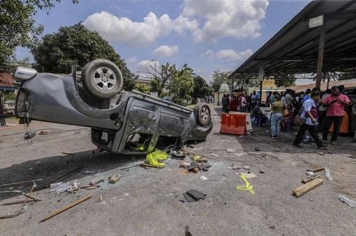 Subang Jaya Sri Maha Marianmman Temple Riot - Car Wreckage