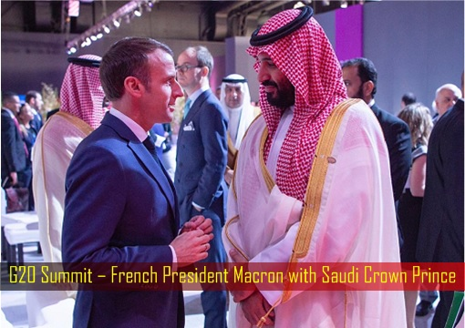 G20 Summit – French President Macron with Saudi Crown Prince