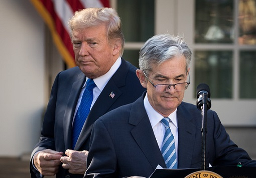 President Donald Trump with Fed Chairman Jerome Powell