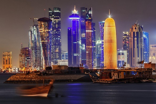 Qatar - Skyscrappers Night View