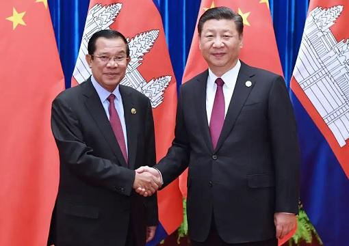 Cambodia Prime Minister Hun Sen with China President Xi Jinping