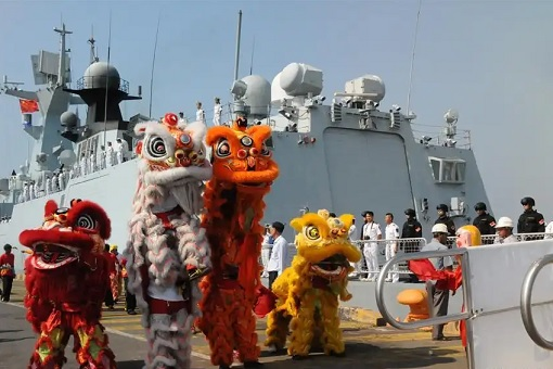 China Warships Dock At Cambodia - Lion Dance