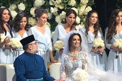 Malaysia King - Sultan Muhammad V - Married Miss Moscow Oksana Voevodina - Wedding Gown