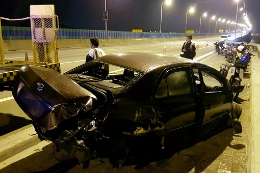 Penang Bridge Car Crash - Toyota Vios After High Impact Crash