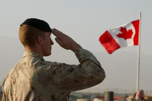 Canadian Soldier Salute Canada Flag