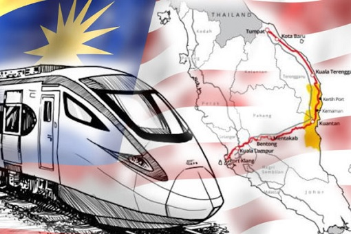 ECRL - East Coast Rail Link - Train and Flag