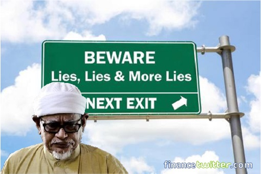 Hadi Awang - Liar - Beware Of Lies Ahead Signboard