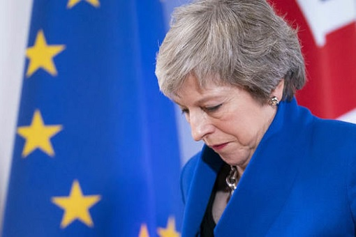 British Prime Minister Theresa May - Looking Down Humiliated