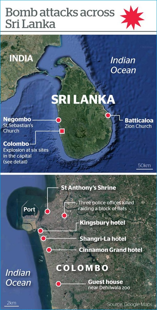 Sri Lanka Terror Attacks - Map