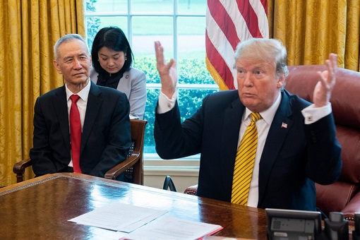 Chinese Vice Premier Liu He and US President Donald Trump