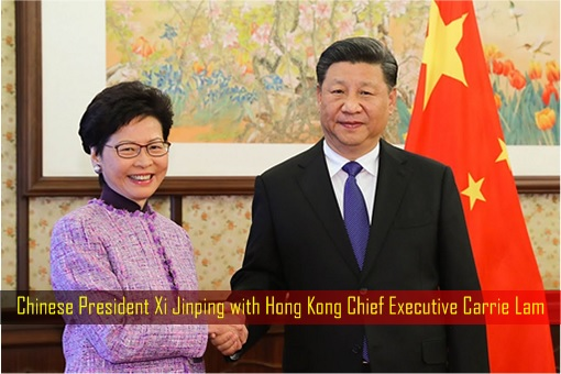 Chinese President Xi Jinping with Hong Kong Chief Executive Carrie Lam