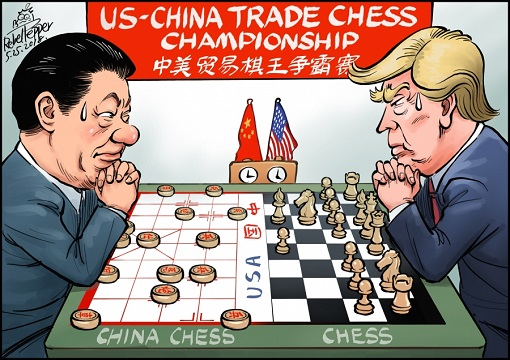 US-China Trade War - Chess - Cartoon