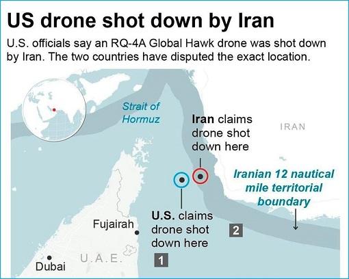 US Navy RQ-4A Global Hawk - Shot Down Map