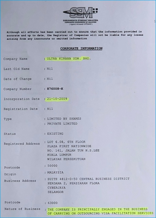 Ultra Kirana Sdn Bhd - Companies Commission - Corporate Info