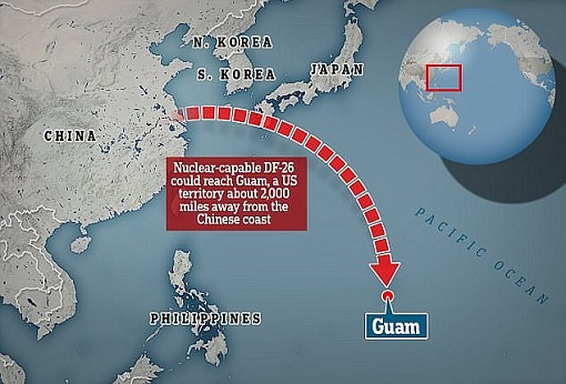 China DF-26 Anti-Ship Ballistic Missile – Hits Guam Map