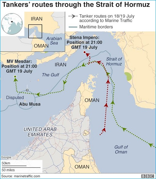 Iran Seized UK Britain Tanker Stena Impero and Mesdar - Map