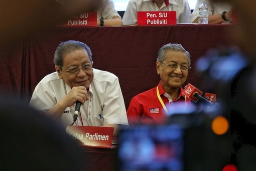 Lim Kit Siang with Mahathir Mohamad - Happily Laughing