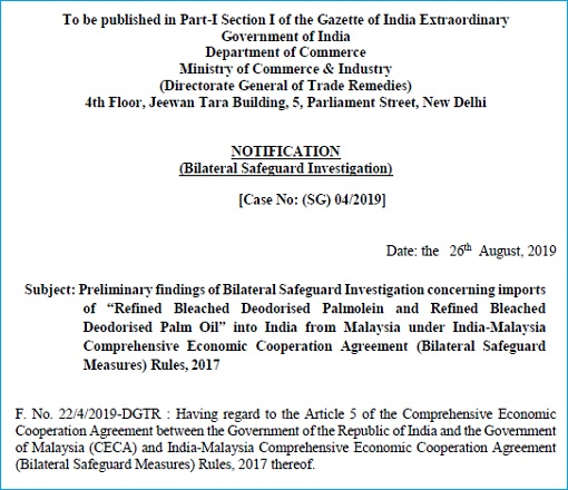 Tariff Hike on Malaysian Palm Oil - India Ministry of Commerce Notification Page-1