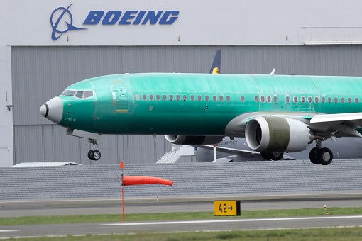Boeing 737 MAX - Unpainted Plane with Logo at background
