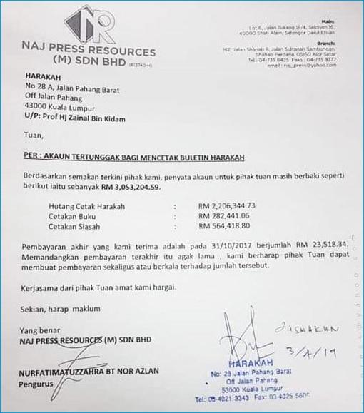 PAS Harakah Newspaper Owed Printing NAJ Press Resources RM3 Million