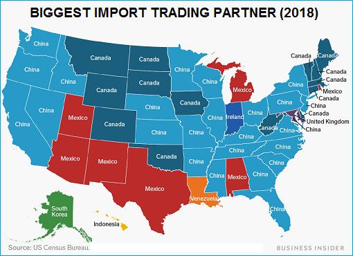 United States - Biggest Import Trading Partner 2018 - Map