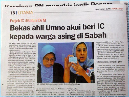 Mahathir Project IC in Sabah - Newspaper Cutting