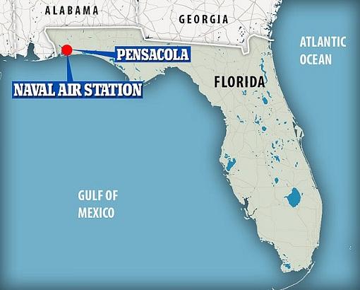 US Pensacola Naval Military Base Terrorist Attack - Florida Map