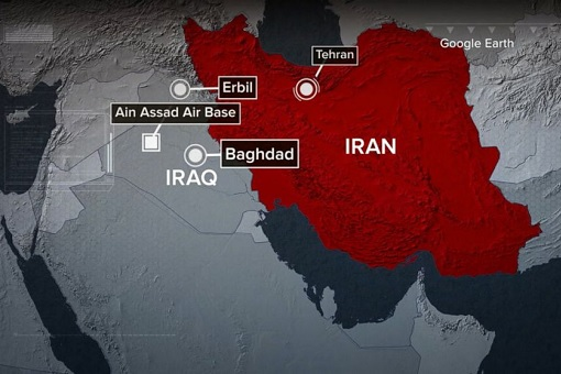 Iran Missile Attack On US Military Bases - Map