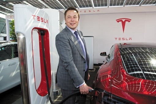 Elon Musk - Charging Tesla Electric Car