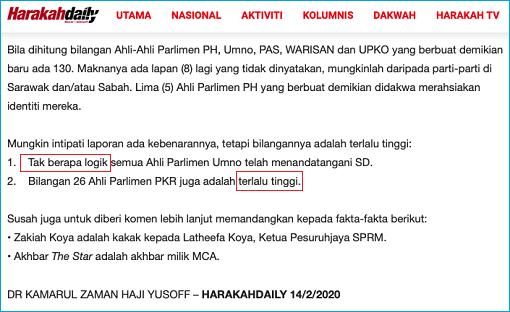 Harakah News Media - 138 MPs SD In Support Of Mahathir - Not Logic