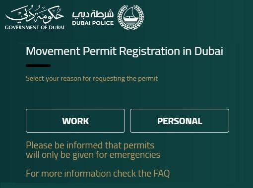 Coronavirus - Dubai Police Movement Permit Registration