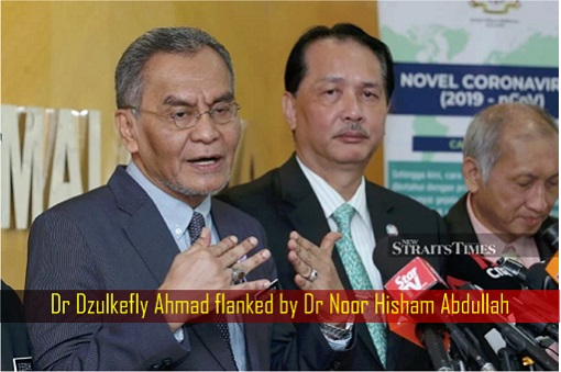 Dr Dzulkefly Ahmad flanked by Dr Noor Hisham Abdullah