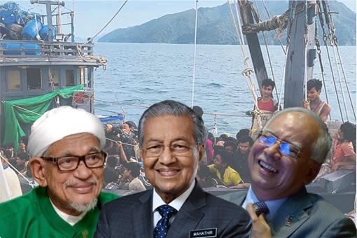Rohingya Boat Illegal Immigrants - Hadi Awang, Mahathir Mohamad, Najib Razak