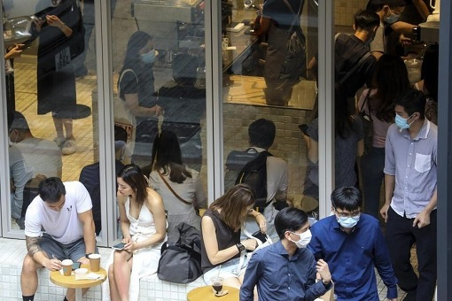 Coronavirus - Hong Kong Third Wave of Covid-19 - Restaurant Social Distance