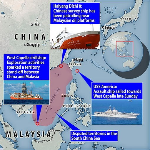 West Capella Standoff - South China Sea Map - China and USA