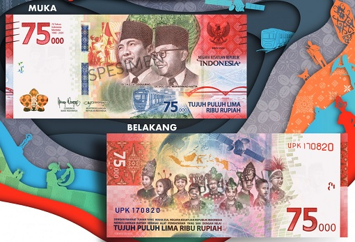 Indonesia 75000 Rupiah New Banknote - Front and Back