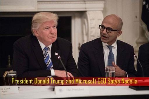 President Donald Trump and Microsoft CEO Satya Nadella