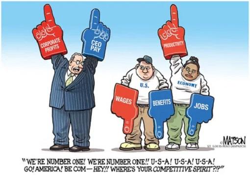 USA - Economic and Income Inequality - Cartoon