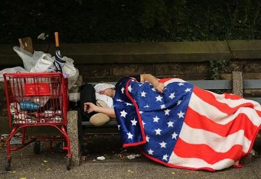 USA - Poor American Sleeps On Bench