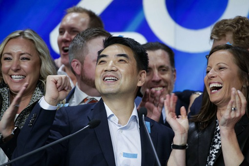 Zoom IPO Listing on NASDAQ - CEO and Founder Eric Yuan and Staff Celebrate