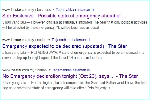 Muhyiddin Emergency Declaration - TheStar Newspaper News Coverage