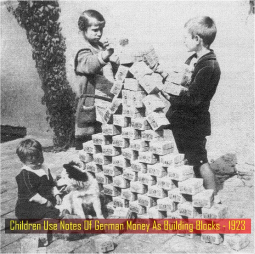 Hyper Inflation - Children Use Notes Of German Money As Building Blocks - 1923