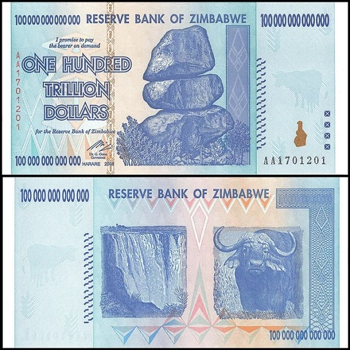 Hyper Inflation - Zimbabwe 2009 - 100 Trillion Dollars Currency Note