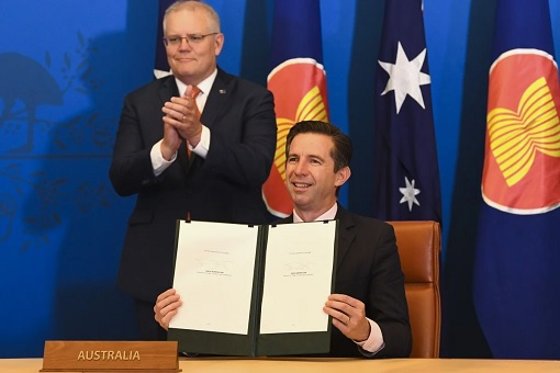 RCEP Regional Comprehensive Economic Partnership - Australian Trade Minister Simon Birmingham and Prime Minister Scott Morrison