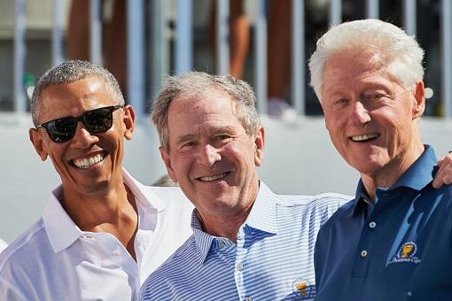 US Presidents - Barack Obama, George Bush and Bill Clinton