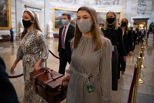 US Capitol Riot Photo - Chamber Assistants Carry Electoral College Ballot Boxes at the Capitol