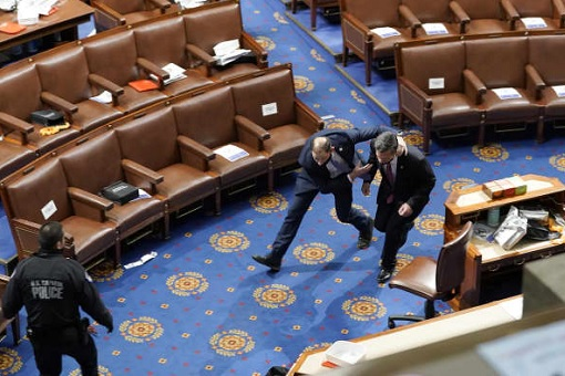 US Capitol Riot Photo - Congressmen Run for Cover Inside the Capitol