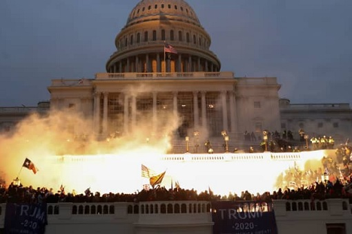 US Capitol Riot Photo - Explosion Caused by a Police Munition