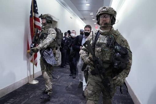 US Capitol Riot Photo - FBI SWAT in Hall of Capitol