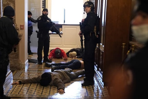 US Capitol Riot Photo - Police Detain Protesters Inside Capitol